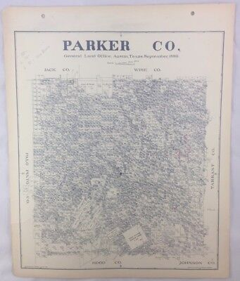 Antique General Land Office Map Parker County Texas Showing Plats ++