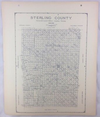 Antique General Land Office Map Sterling County Texas Showing Plats ++