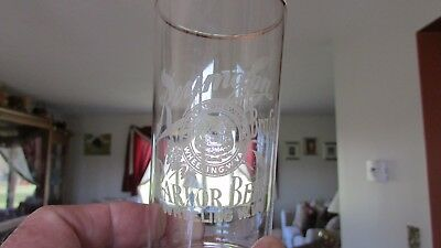 Reymann Parlor Beer Glass Wheeling, W.VA. Etched.