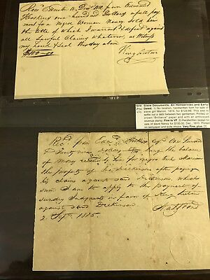 1810 Slave Documents Bill Of Sales Lot Of 2