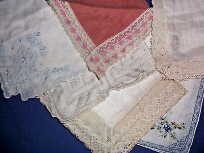 Vintage lace embroider Hankie Ladies Handkerchief lot of 6,label Irish Linen
