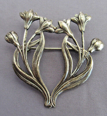 Antique Vintage Art Deco Nouveau Sterling Floral Repousse Iris Tulip Pin Brooch