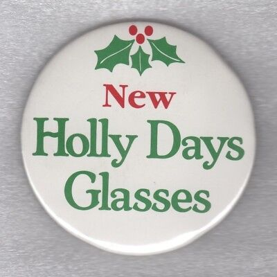 1980s AD PINBACK BUTTON PBA Arby's Holly Days Glasses