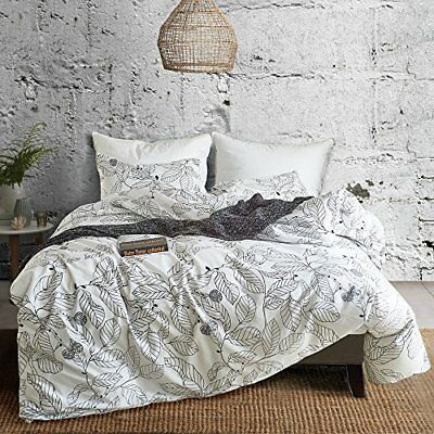 Hyprest Leaf Duvet Cover Set King Lightweight Soft White Black 3PC Comforter Cov