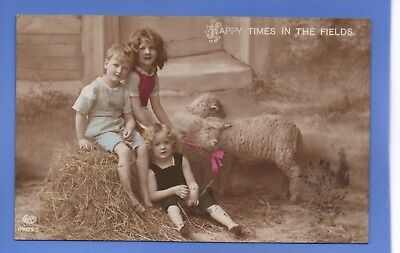 Old Vintage 1913 Rp Postcard Three Young Children Sheep Happy Times In The Field