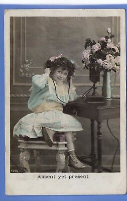 Old Vintage 1908 Rp Postcard Pretty Young Girl On The Telephone Children