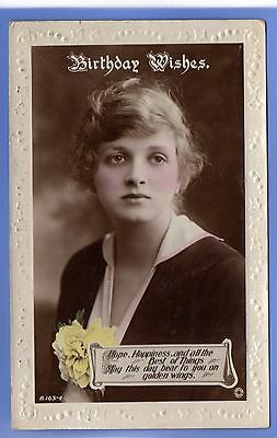 Old Vintage 1919 Rp Postcard Edwardian Actress Miss Gladys Cooper Greetings