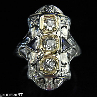 c.1920s Antique Art Deco Old Mine Cut Diamond Sapphire 18k Gold Ring Vintage