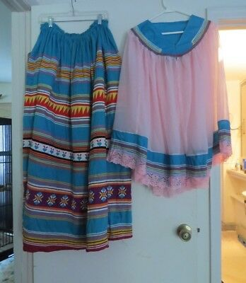Vintage Patchwork Skirt  and Blouse - Seminole Indian Tribal Arts