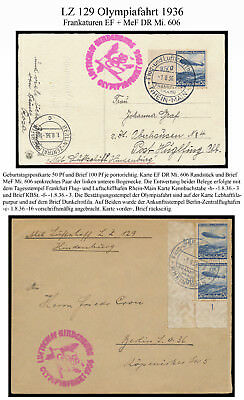 Olympic Flight, Olympiafahrt, Zeppelin 1.8.36 Karte + Brief Zeppelinfrank. gepr.