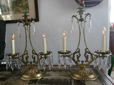 Pair Of Fabulous French Antique Gilded Chandelier Candelabra Table Lamps.