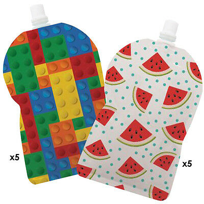 My Lil Pouch! 140ml Brick and Watermelon Top Spout Reusable Food Pouch - 10 pack