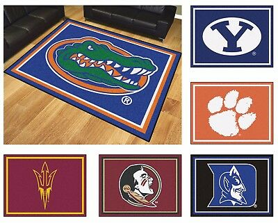 New Ncaa College Team Logo Themed 87 X 117 Area Floor Rug Nylon Carpet