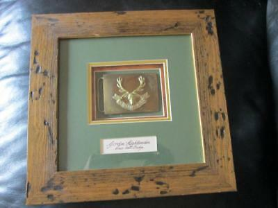 Rare Queens Own  Highlanders Brass Belt Badge/buckle Framed