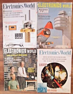 Lot of 4 Electronics World Magazines 1960's Computers/Lasers/Holographs/More!