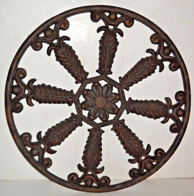 "ANTIQUE CAST IRON 19-1/4"" ROUND ORNATE ARCHITECTURAL SALVAGE 12-1/4Lbs."