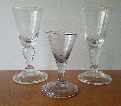 (3) ANTIQUE 18Th.  CENTURY BLOWN GLASS WINE GLASSES  FOLDED FOOT STYLE