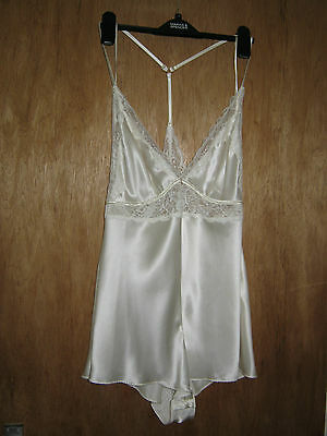 New M&s Rosie For Autograph Ivory Silk/lace Camisole Teddy Size 14 Rrp £50