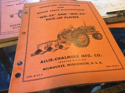 Allis Chalmers WD Tractor 52 53 Plow Manual Book