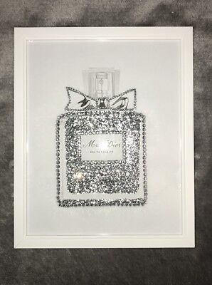 Miss Silver Glitter Perfume Bottle Diamante Wall Art Print