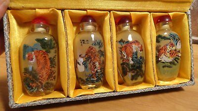 Chinese snuff bottle set ,Picture of 8 fine Tigers. revese painted