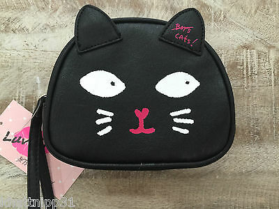 Betsey Johnson By Luv Betsey Black Cat Cosmetic Make Up Bag Nwt
