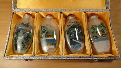 """Chinese Snuff bottle set, Great wall of China, revese painted 4"""" tall"""