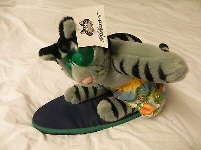 With Tag Large 2000 25th Anniversary Surfing Kliban Plush Cat Figure Free Ship!