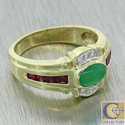 Vtg Estate 14k Yellow Gold 1.15ct Cabochon Emerald Ruby Diamond Cocktail Ring