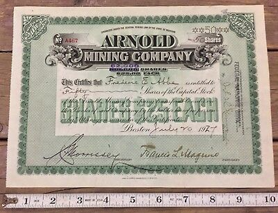 Antique Arnold Mining Company Michigan Mining Stock 1927 50 Shares Green RARE