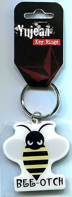EVILKID BEE-OTCH (bitch/angry bee) Rubber Keychain w/metal ring YUJEAN ch211