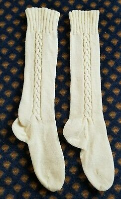 Vtg New Off White/  Bulky Acrylic Wool ?  Thick Cable Knit Knee Socks Thick!