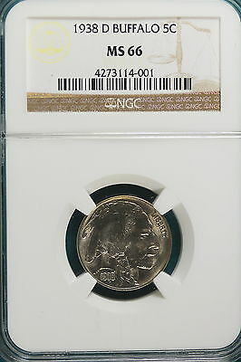 1938-D Ngc Ms66 Buffalo Nickel!!! #a4168