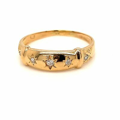 ANTIQUE Brilliant Cut Star Set DIAMOND Band - 18K Yellow Gold Ring - Size P