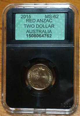 2015 $2 COIN..ANZAC..LEST WE FORGET..APCGS SLABBED and GRADED MS-62(UNC).SCARCE.