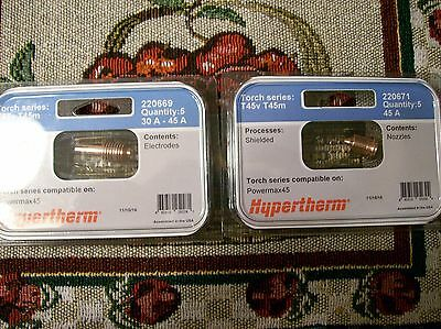 Genuine Hypertherm 220669 Powermax 45 Electrodes 5pk and 220671 Nozzles 5pk