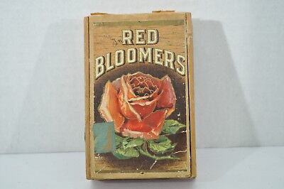 Antique Red Bloomers Wood Cigar Box Red Rose Flower Graphic
