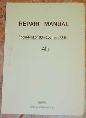 RARE OEM Nikon Zoom Nikkor 80-200mm F2.8 AIS Service Repair Manual AI-S