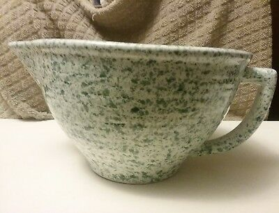 Green Spatter Ware  Pioneer Seed Monmouth Western Stoneware Batter Bowl
