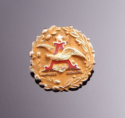 """Anheuser Busch A & Eagle 10k Yellow Gold Red Enamel Pin Brooch 5/8"""""""