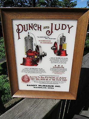 Vintage Punch And Judy Gas Hit And Miss Engine Reverse Painted Glass Sign