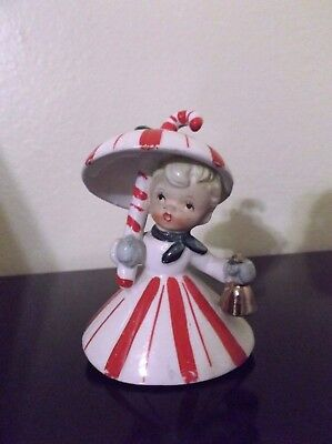 Vintage Napco Christmas Candy Cane Bell umbrella porcelain figurine Japan 3.5""