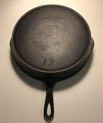 "Vintage "" WAGNER "" Arch One Line Logo # 12 Cast Iron Skillet w/Heat Ring Read"