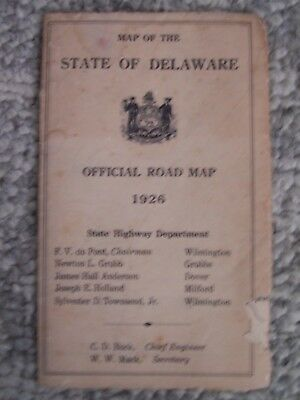1926  Map of the State of Delaware Official road map