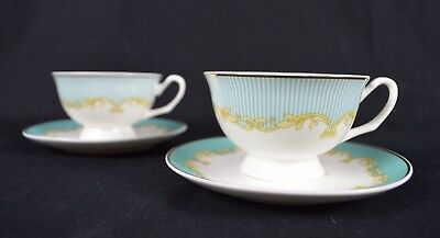 Set of Two Blue Striped Pattern Fine Bone China Tea Cup and Saucer