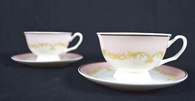 Set of Two Pink Striped Pattern Fine Bone China Tea Cup and Saucer