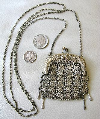Antique Art Nouveau Silver Chatelaine French Doll Necklace Chain Mail Coin Purse