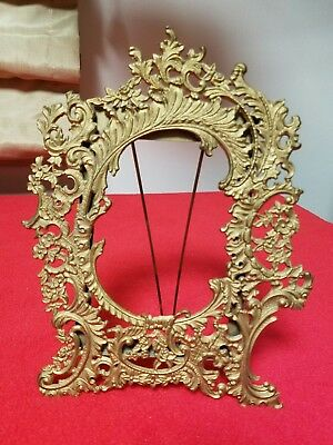 """Antique 19th Century Ornate Brass Gold Gilt Picture Frame Fits 4"""" x 6"""""""