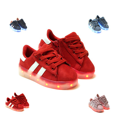 New Light Up LED Shoes For Baby Toddler Girls Or Boys Faux Suede Rechargeable