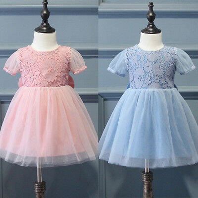 AU Princess Baby Kids Girls Dress Lace Floral Gown Party Dresses Tulle Clothes